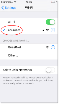 eduroam - iOS - connected