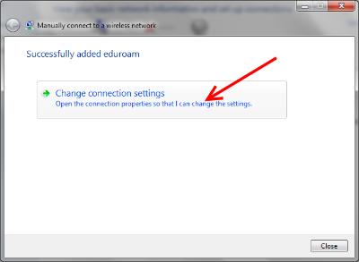eduroam - Win 7 - change connection settings