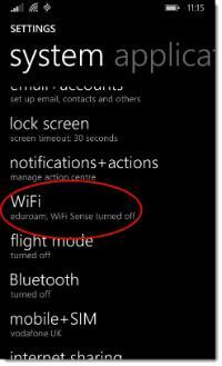 eduroam - Windows Phone - Wi-Fi settings