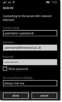 eduroam - Windows Phone - credentials